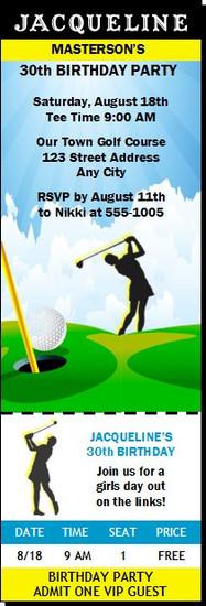 Golf Female Birthday Party Ticket Invitation