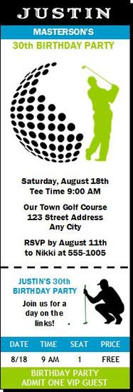 Golf Swing Birthday Party Ticket Invitation