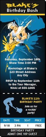 Guitar Jam Birthday Party Ticket Invitation