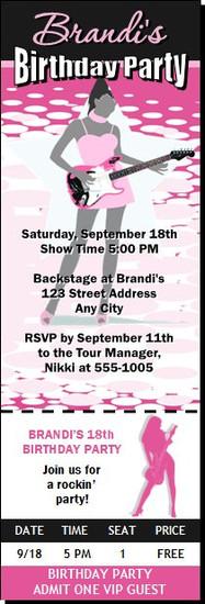 Guitar Jam Female Birthday Party Ticket Invitation