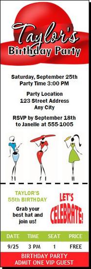 Hat Ladies Birthday Party Ticket Invitation
