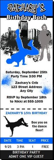 Hip Hop Dancer Birthday Party Ticket Invitation