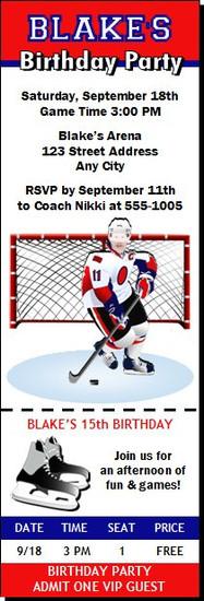 Hockey Goalie Birthday Party Ticket Invitation
