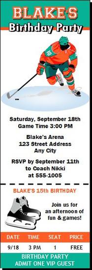 Hockey Player Birthday Party Ticket Invitation