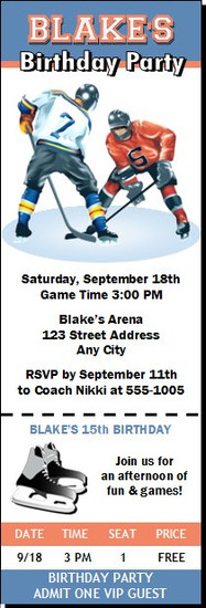 Hockey Players Birthday Party Ticket Invitation