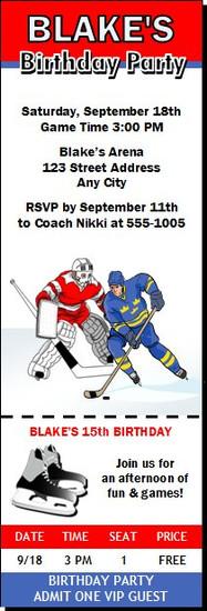 Hockey Players Design 2 Birthday Party Ticket Invitation