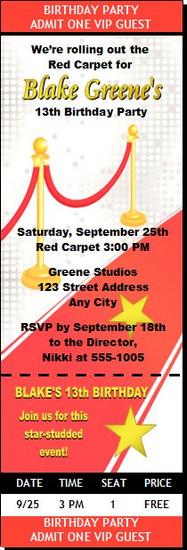 Hollywood Red Carpet Birthday Party Ticket Invitation