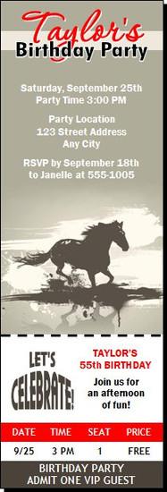 Horse Birthday Party Ticket Invitation