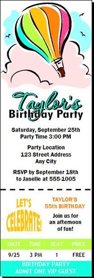 Hot Air Balloon Birthday Party Ticket Invitation
