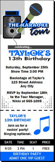 Karaoke Star Birthday Party Ticket Invitation Blue