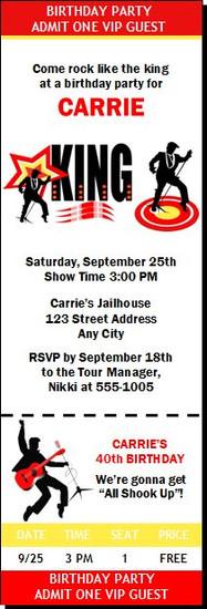 King Rocker Birthday Party Ticket Invitation
