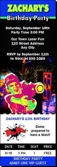 Laser Tag Birthday Party Ticket Invitation