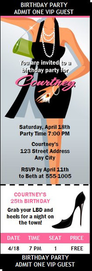 Little Black Dress Birthday Party Ticket InvitationPrinted Thank You Card Add-On