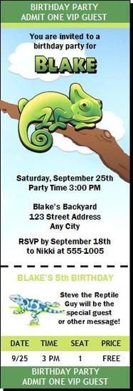 Lizard Iguana Birthday Party Ticket Invitation