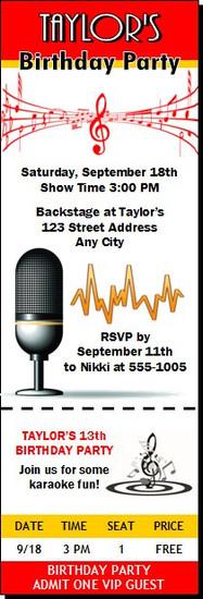 Music Star Birthday Party Ticket Invitation