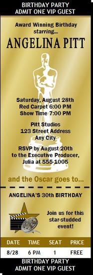 Oscar Awards Golden Birthday Party Ticket Invitation