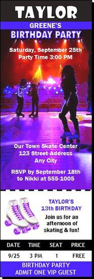 Roller Skating Birthday Party Ticket Invitation