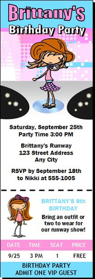 Runway Fashionista Birthday Party Ticket Invitation Light Skin