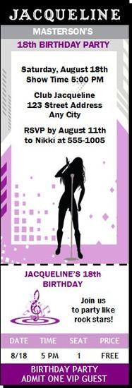 Singer Female Birthday Party Ticket Invitation