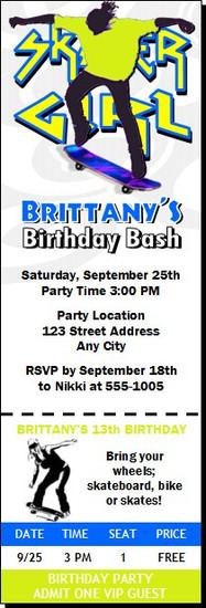 Skateboarding Girl Birthday Party Ticket Invitation