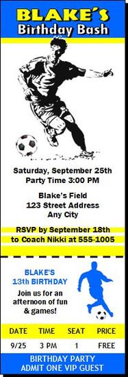 Soccer Player Birthday Party Ticket Invitation