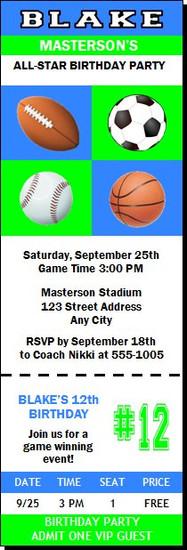 Sports Balls Birthday Party Ticket Invitation