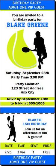 Tennis Birthday Party Ticket Invitation