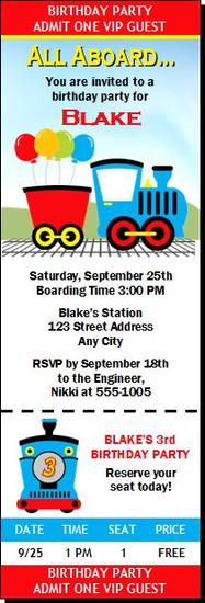 Thomas The Train Inspired Design 2 Birthday Party Ticket Invitation