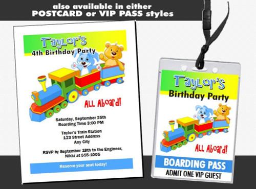 Toy Train Boarding Birthday Party Ticket Invitation