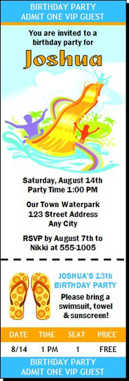 Water Park Design 2 Birthday Party Ticket Invitation