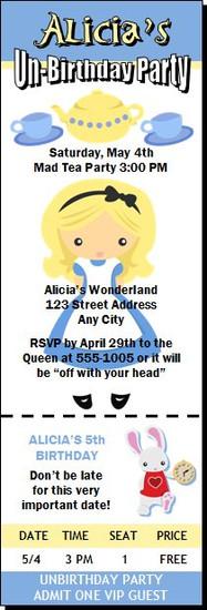 Wonderland Inspired Birthday Party Ticket Invitation
