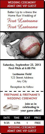 Baseball Wedding Ticket Invitation