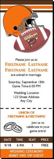 Football Gear Wedding Ticket Invitation Orange Brown