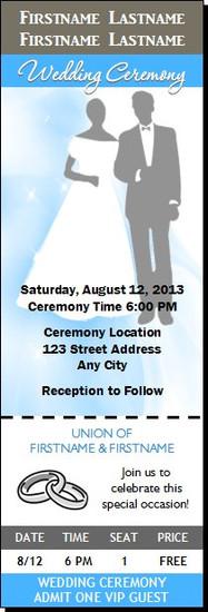 Blue Mist Wedding Ticket Invitation