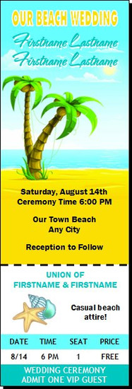 Beach Wedding Ticket Invitation