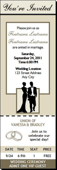 Bone Class Act Wedding Ticket Invitation