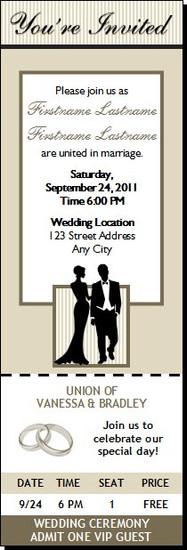 Bone Class Act Wedding Ticket Invitation