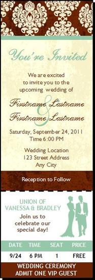 Chocolate Damask Wedding Ticket Invitation, Set of 12