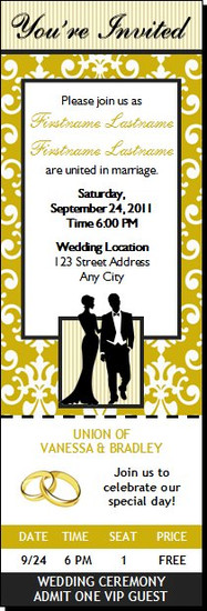 Class Act Wedding Ticket Invitation