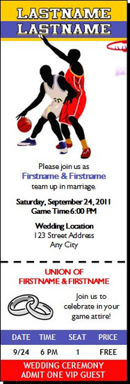 Basketball Game Wedding Ticket Invitation