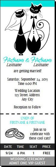 Cool Cats Wedding Ticket Invitation