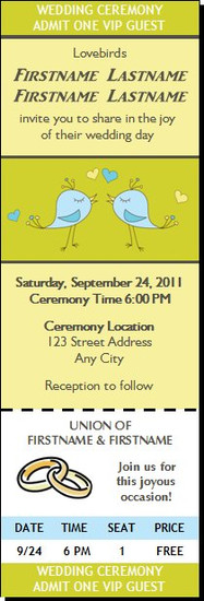 Lovebirds Wedding Ticket Invitation