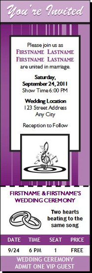 Music Clef Wedding Ticket Invitation