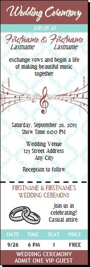 Music Notes Wedding Ticket Invitation