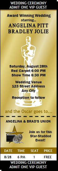 Oscar Awards Golden Wedding Ticket Invitation