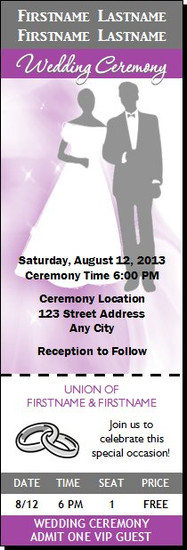 Purple Rain Wedding Ticket Invitation
