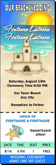 Sandcastle Beach Wedding Ticket Invitation