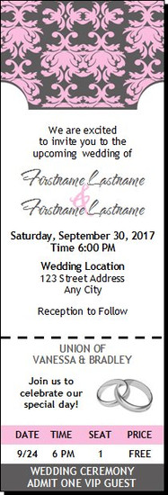 Shabby Pink Ornate Wedding Ticket Invitation