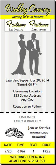 Yellow Gray Wedding Ticket Invitation
