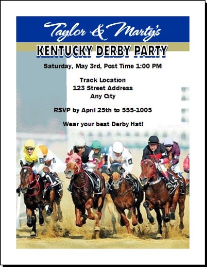 Kentucky Derby They're Off Party Invitation